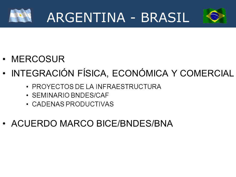 ARGENTINA - BRASIL MERCOSUR INTEGRACIÓN FÍSICA, ECONÓMICA Y COMERCIAL PROYECTOS DE LA INFRAESTRUCTURA SEMINARIO BNDES/CAF CADENAS PRODUCTIVAS ACUERDO