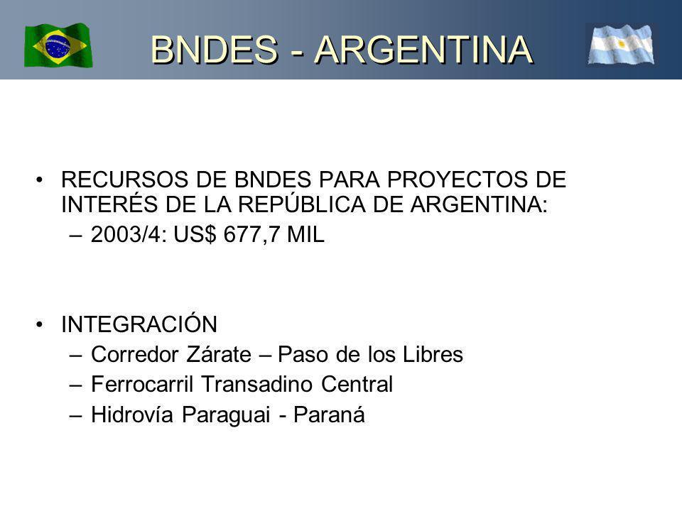 BNDES - ARGENTINA RECURSOS DE BNDES PARA PROYECTOS DE INTERÉS DE LA REPÚBLICA DE ARGENTINA: –2003/4: US$ 677,7 MIL INTEGRACIÓN –Corredor Zárate – Paso de los Libres –Ferrocarril Transadino Central –Hidrovía Paraguai - Paraná
