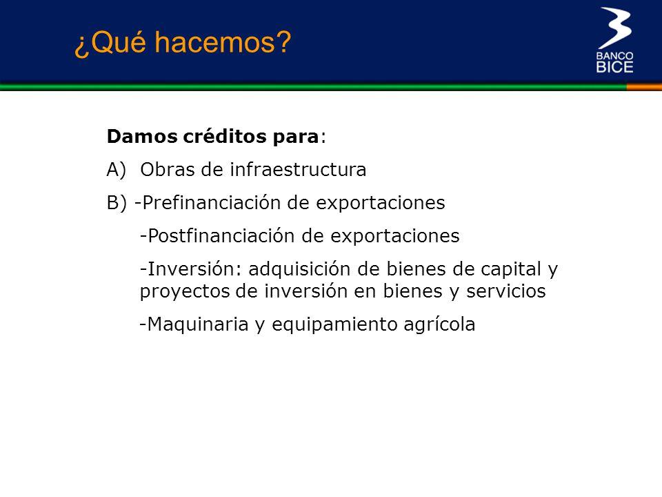 Damos créditos para: A) Obras de infraestructura B) -Prefinanciación de exportaciones -Postfinanciación de exportaciones -Inversión: adquisición de bi