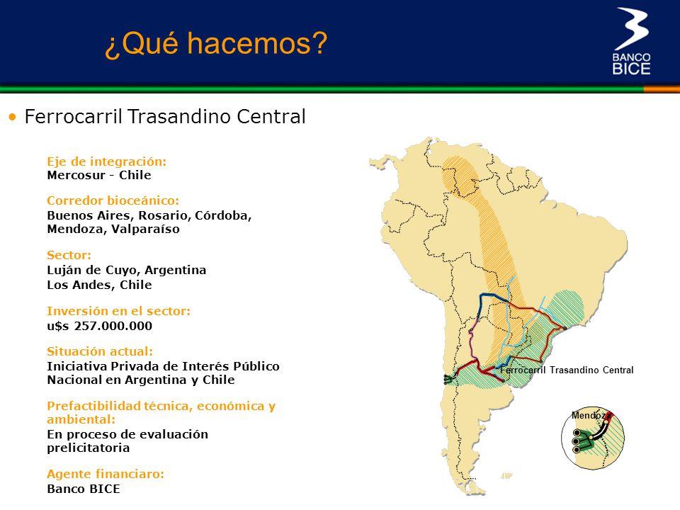 Mendoza Ferrocarril Trasandino Central Los Andes Eje de integración: Mercosur - Chile Corredor bioceánico: Buenos Aires, Rosario, Córdoba, Mendoza, Va
