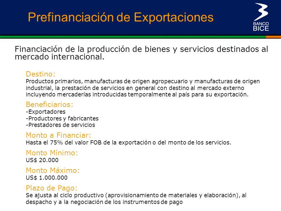 Prefinanciación de Exportaciones Financiación de la producción de bienes y servicios destinados al mercado internacional. Monto a Financiar: Hasta el