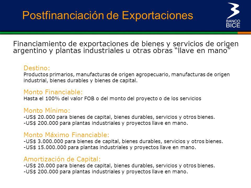 Postfinanciación de Exportaciones Financiamiento de exportaciones de bienes y servicios de origen argentino y plantas industriales u otras obras llave