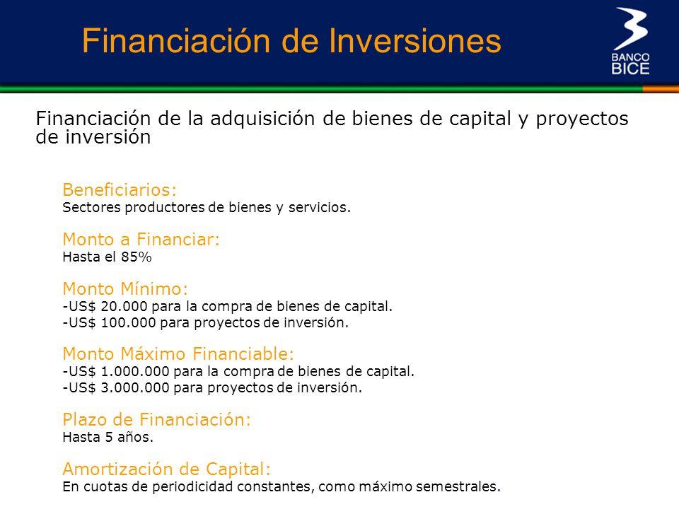 Financiación de Inversiones Financiación de la adquisición de bienes de capital y proyectos de inversión Monto a Financiar: Hasta el 85% Monto Mínimo: