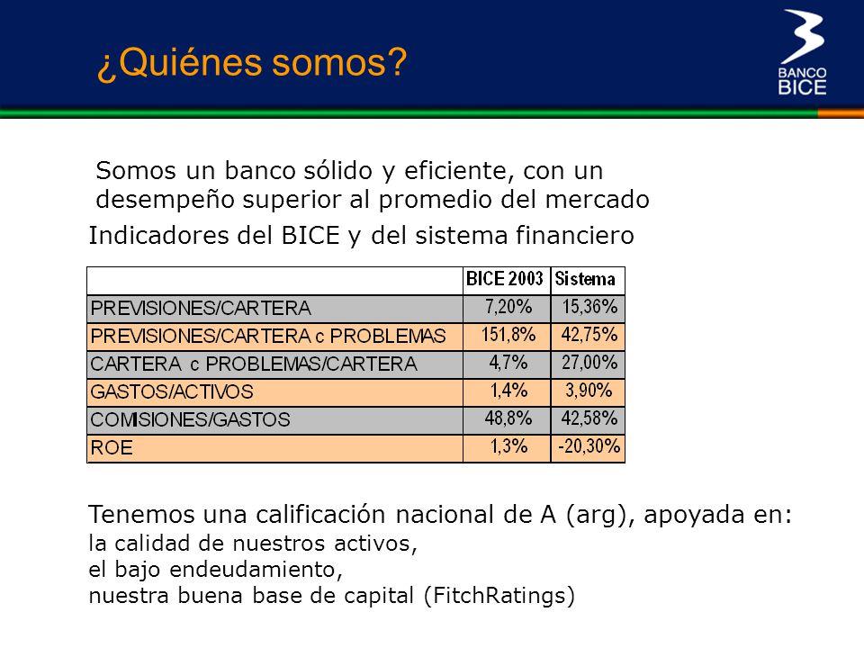 Indicadores del BICE y del sistema financiero ¿Quiénes somos? Somos un banco sólido y eficiente, con un desempeño superior al promedio del mercado Ten