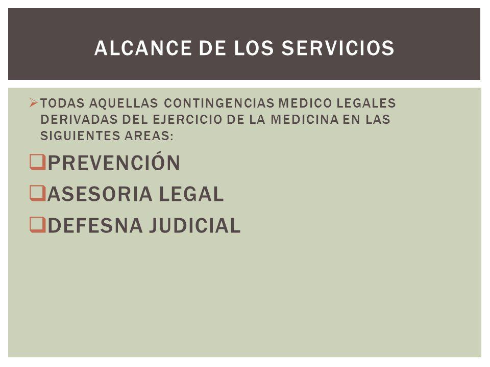 TODAS AQUELLAS CONTINGENCIAS MEDICO LEGALES DERIVADAS DEL EJERCICIO DE LA MEDICINA EN LAS SIGUIENTES AREAS: PREVENCIÓN ASESORIA LEGAL DEFESNA JUDICIAL