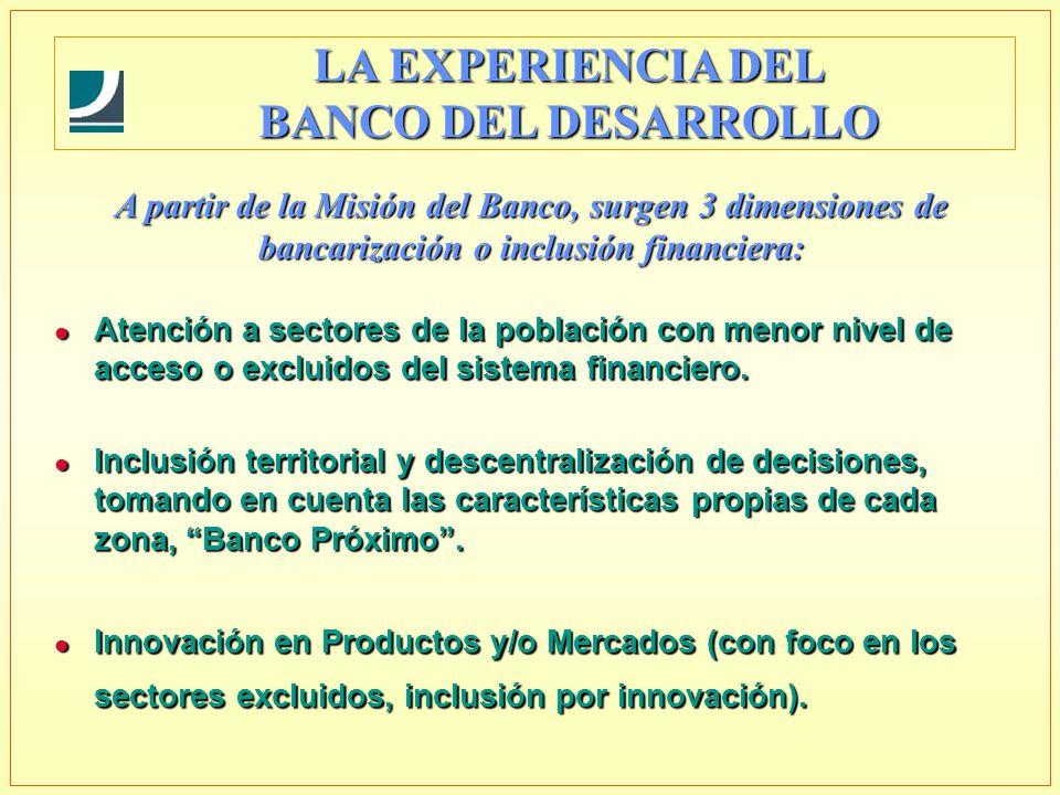 A partir de la Misión del Banco, surgen 3 dimensiones de bancarización o inclusión financiera: l Atención a sectores de la población con menor nivel de acceso o excluidos del sistema financiero.