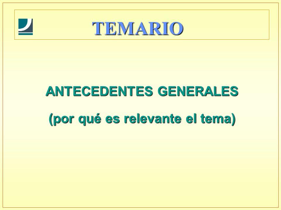 TEMARIO ANTECEDENTES GENERALES (por qué es relevante el tema)