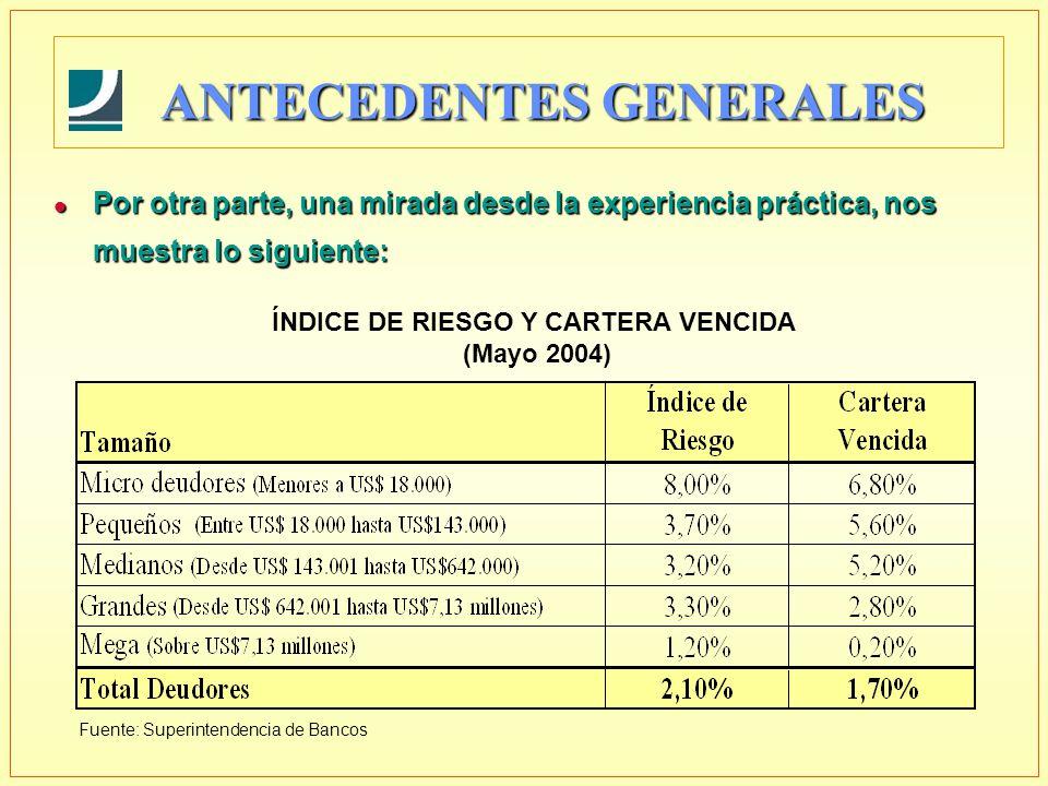 ANTECEDENTES GENERALES ÍNDICE DE RIESGO Y CARTERA VENCIDA (Mayo 2004) Fuente: Superintendencia de Bancos l Por otra parte, una mirada desde la experiencia práctica, nos muestra lo siguiente: