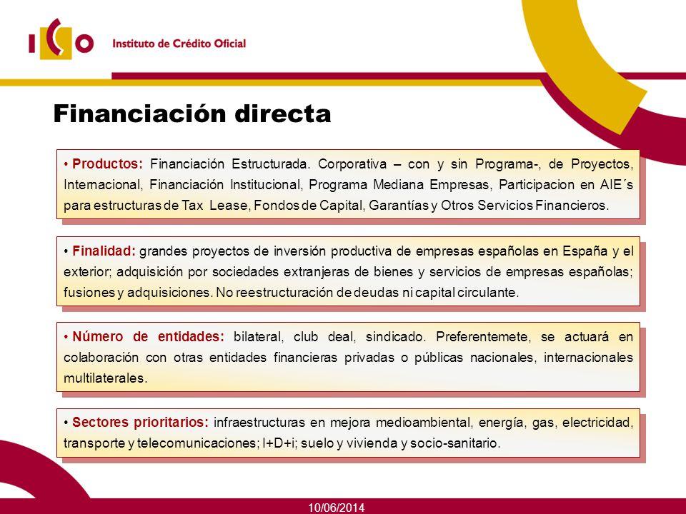 10/06/2014 Financiación directa Finalidad: grandes proyectos de inversión productiva de empresas españolas en España y el exterior; adquisición por so
