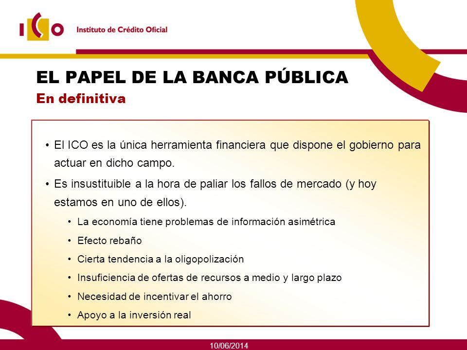 10/06/2014 EL PAPEL DE LA BANCA PÚBLICA En definitiva El ICO es la única herramienta financiera que dispone el gobierno para actuar en dicho campo. Es