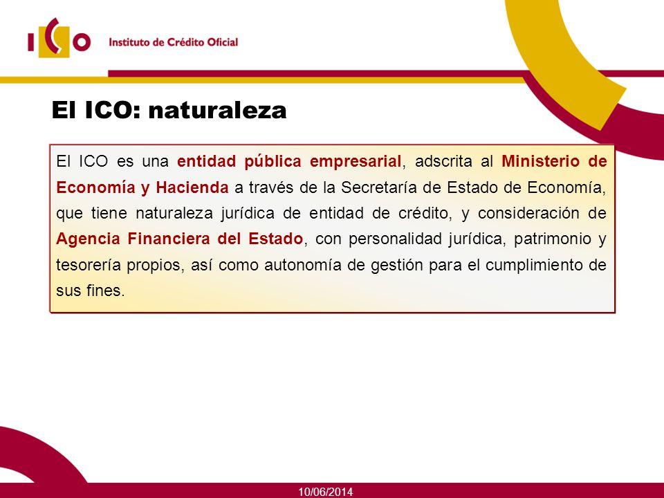 10/06/2014 El ICO: naturaleza El ICO es una entidad pública empresarial, adscrita al Ministerio de Economía y Hacienda a través de la Secretaría de Es