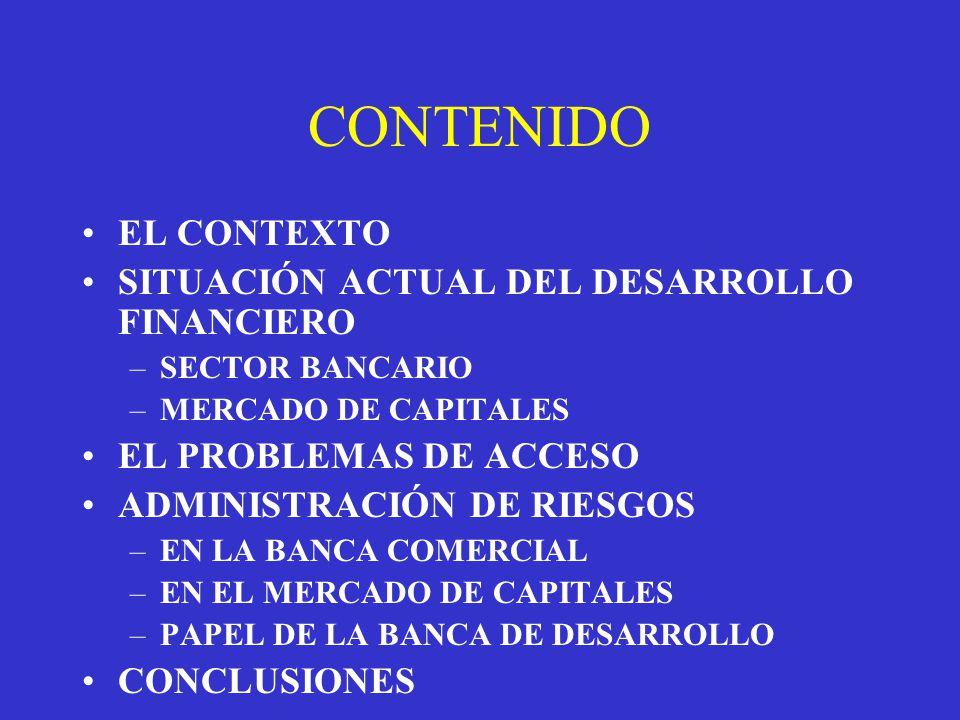 CONTENIDO EL CONTEXTO SITUACIÓN ACTUAL DEL DESARROLLO FINANCIERO –SECTOR BANCARIO –MERCADO DE CAPITALES EL PROBLEMAS DE ACCESO ADMINISTRACIÓN DE RIESGOS –EN LA BANCA COMERCIAL –EN EL MERCADO DE CAPITALES –PAPEL DE LA BANCA DE DESARROLLO CONCLUSIONES
