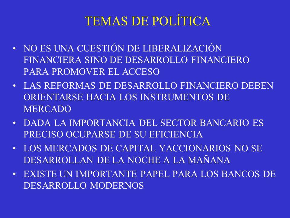 TEMAS DE POLÍTICA NO ES UNA CUESTIÓN DE LIBERALIZACIÓN FINANCIERA SINO DE DESARROLLO FINANCIERO PARA PROMOVER EL ACCESO LAS REFORMAS DE DESARROLLO FINANCIERO DEBEN ORIENTARSE HACIA LOS INSTRUMENTOS DE MERCADO DADA LA IMPORTANCIA DEL SECTOR BANCARIO ES PRECISO OCUPARSE DE SU EFICIENCIA LOS MERCADOS DE CAPITAL YACCIONARIOS NO SE DESARROLLAN DE LA NOCHE A LA MAÑANA EXISTE UN IMPORTANTE PAPEL PARA LOS BANCOS DE DESARROLLO MODERNOS