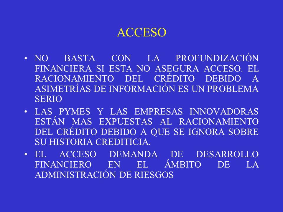 NO BASTA CON LA PROFUNDIZACIÓN FINANCIERA SI ESTA NO ASEGURA ACCESO.