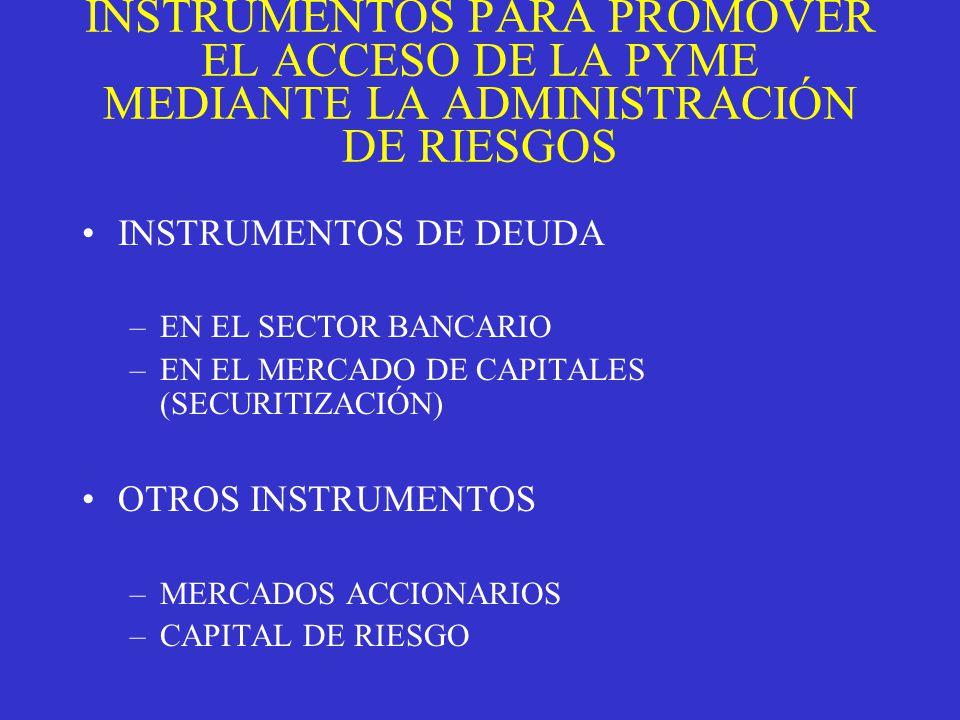INSTRUMENTOS PARA PROMOVER EL ACCESO DE LA PYME MEDIANTE LA ADMINISTRACIÓN DE RIESGOS INSTRUMENTOS DE DEUDA –EN EL SECTOR BANCARIO –EN EL MERCADO DE CAPITALES (SECURITIZACIÓN) OTROS INSTRUMENTOS –MERCADOS ACCIONARIOS –CAPITAL DE RIESGO