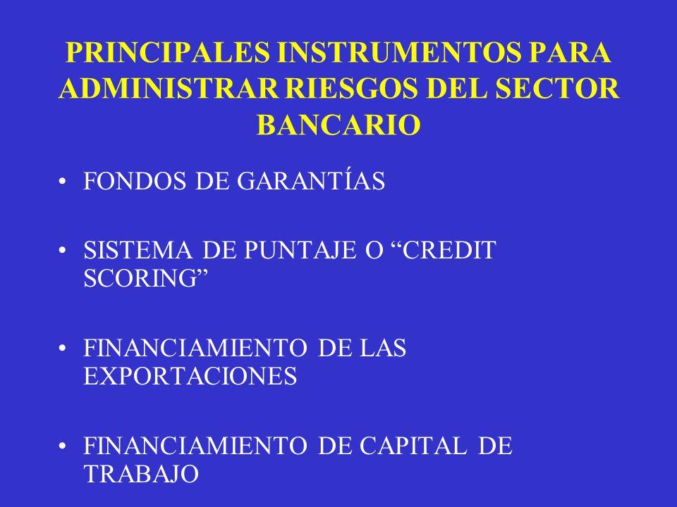 PRINCIPALES INSTRUMENTOS PARA ADMINISTRAR RIESGOS DEL SECTOR BANCARIO FONDOS DE GARANTÍAS SISTEMA DE PUNTAJE O CREDIT SCORING FINANCIAMIENTO DE LAS EXPORTACIONES FINANCIAMIENTO DE CAPITAL DE TRABAJO