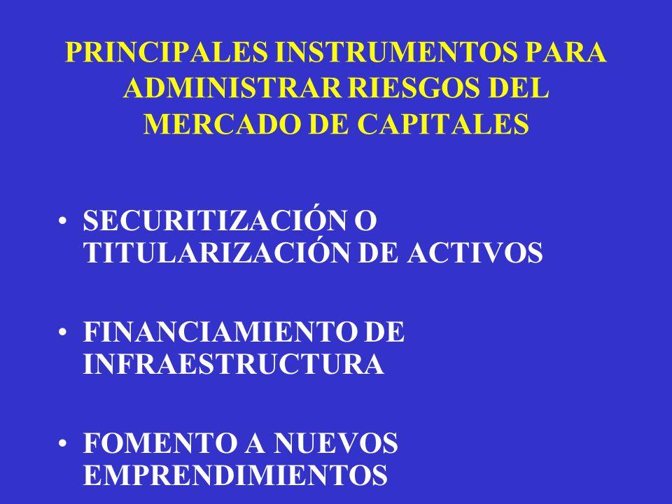 PRINCIPALES INSTRUMENTOS PARA ADMINISTRAR RIESGOS DEL MERCADO DE CAPITALES SECURITIZACIÓN O TITULARIZACIÓN DE ACTIVOS FINANCIAMIENTO DE INFRAESTRUCTURA FOMENTO A NUEVOS EMPRENDIMIENTOS