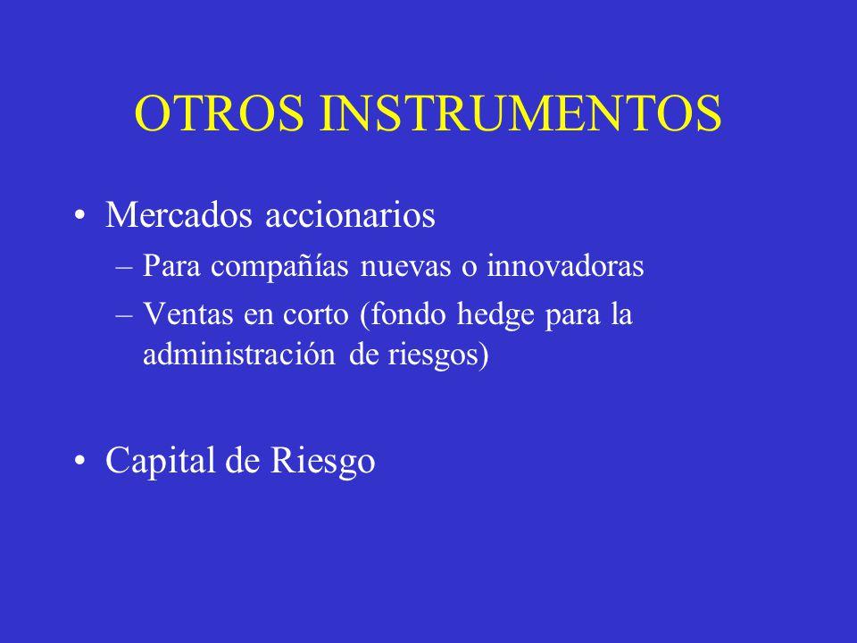 OTROS INSTRUMENTOS Mercados accionarios –Para compañías nuevas o innovadoras –Ventas en corto (fondo hedge para la administración de riesgos) Capital de Riesgo