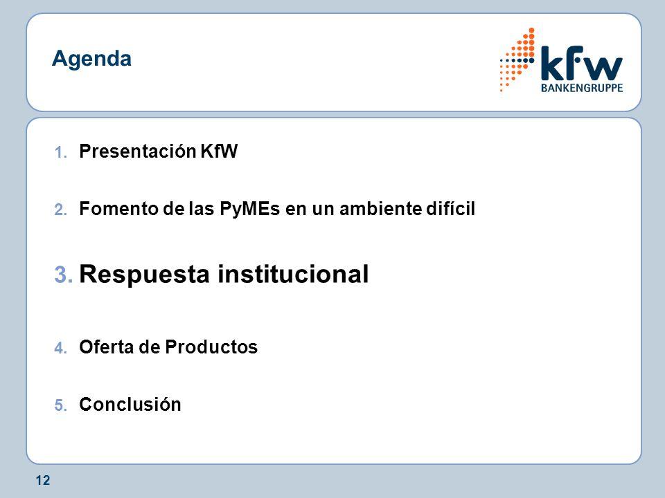 12 Agenda 1. Presentación KfW 2. Fomento de las PyMEs en un ambiente difícil 3. Respuesta institucional 4. Oferta de Productos 5. Conclusión