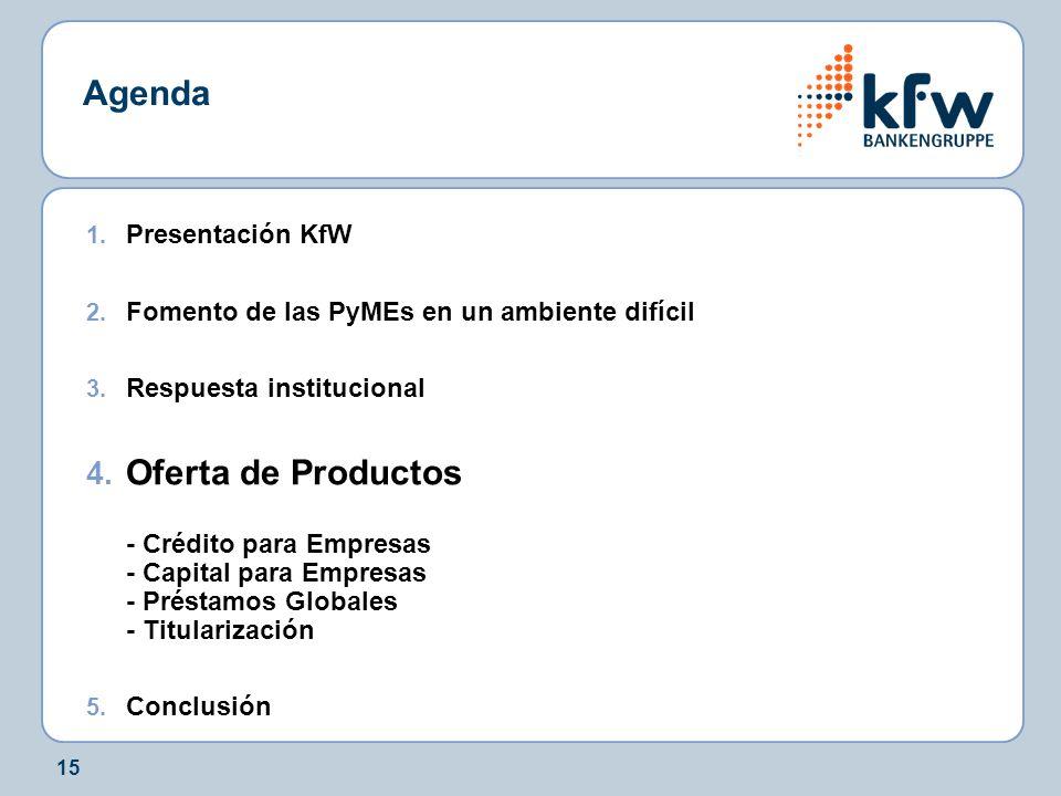 15 Agenda 1. Presentación KfW 2. Fomento de las PyMEs en un ambiente difícil 3. Respuesta institucional 4. Oferta de Productos - Crédito para Empresas