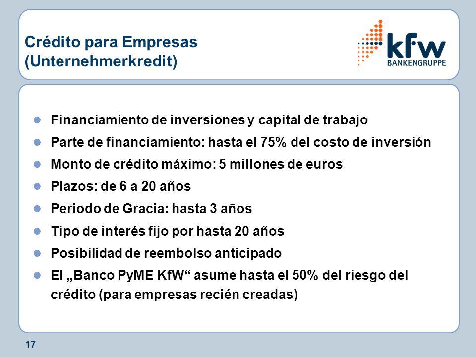 17 Crédito para Empresas (Unternehmerkredit) Financiamiento de inversiones y capital de trabajo Parte de financiamiento: hasta el 75% del costo de inv
