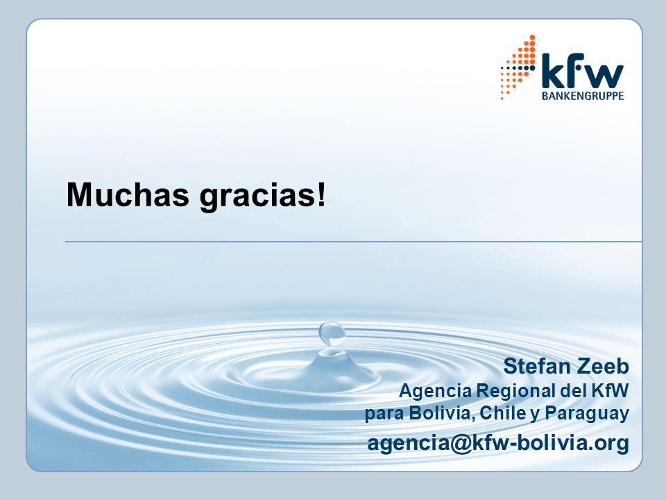 Muchas gracias! Stefan Zeeb Agencia Regional del KfW para Bolivia, Chile y Paraguay agencia@kfw-bolivia.org