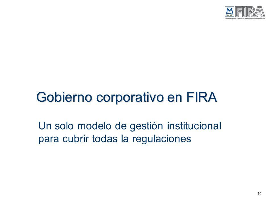 Gobierno corporativo en FIRA Un solo modelo de gestión institucional para cubrir todas la regulaciones 10