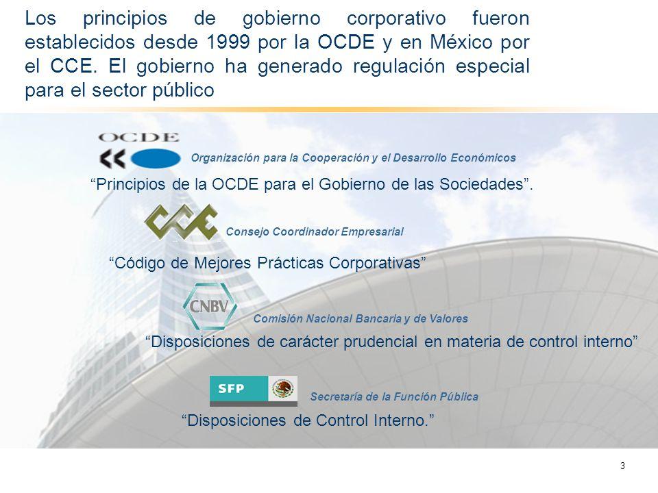 Los principios de gobierno corporativo fueron establecidos desde 1999 por la OCDE y en México por el CCE. El gobierno ha generado regulación especial