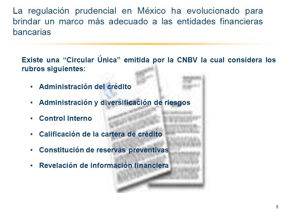 Existe una Circular Única emitida por la CNBV la cual considera los rubros siguientes: Administración del crédito Administración y diversificación de