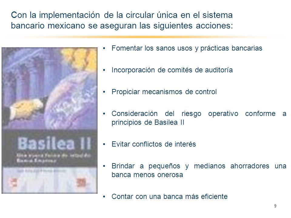 Fomentar los sanos usos y prácticas bancarias Incorporación de comités de auditoría Propiciar mecanismos de control Consideración del riesgo operativo