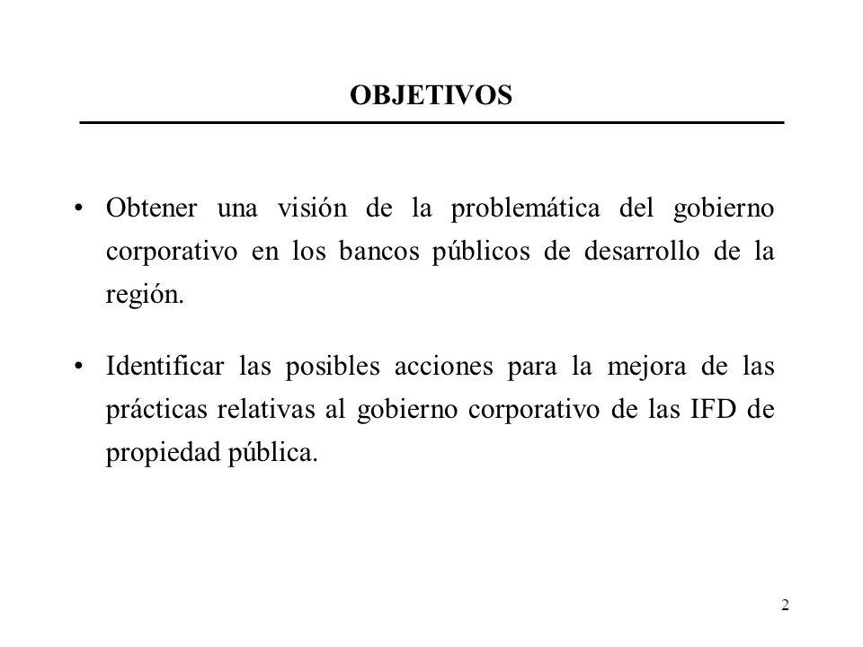 2 OBJETIVOS Obtener una visión de la problemática del gobierno corporativo en los bancos públicos de desarrollo de la región. Identificar las posibles