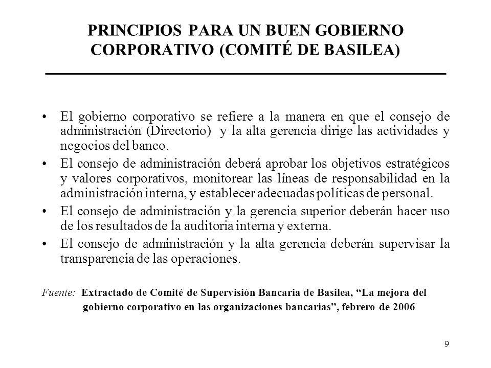 9 PRINCIPIOS PARA UN BUEN GOBIERNO CORPORATIVO (COMITÉ DE BASILEA) El gobierno corporativo se refiere a la manera en que el consejo de administración