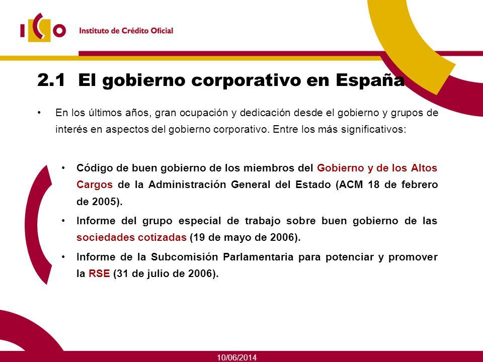 10/06/2014 2.1 El gobierno corporativo en España En los últimos años, gran ocupación y dedicación desde el gobierno y grupos de interés en aspectos de