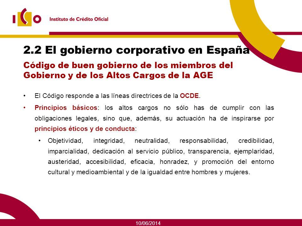 10/06/2014 2.2 El gobierno corporativo en España El Código responde a las líneas directrices de la OCDE. Principios básicos: los altos cargos no sólo