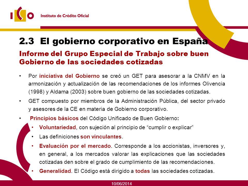 10/06/2014 2.3 El gobierno corporativo en España Por iniciativa del Gobierno se creó un GET para asesorar a la CNMV en la armonización y actualización
