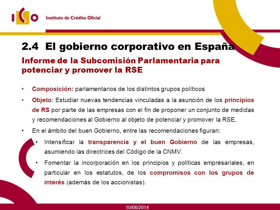 10/06/2014 2.4 El gobierno corporativo en España Composición: parlamentarios de los distintos grupos políticos Objeto: Estudiar nuevas tendencias vinc