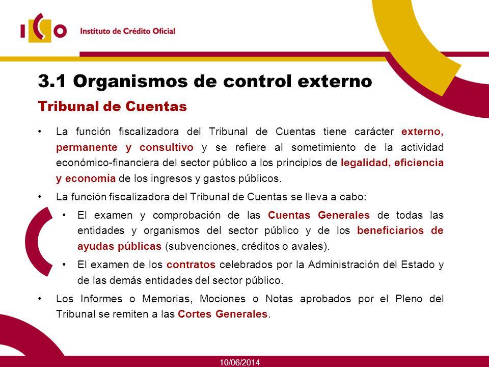 10/06/2014 3.1 Organismos de control externo La función fiscalizadora del Tribunal de Cuentas tiene carácter externo, permanente y consultivo y se ref
