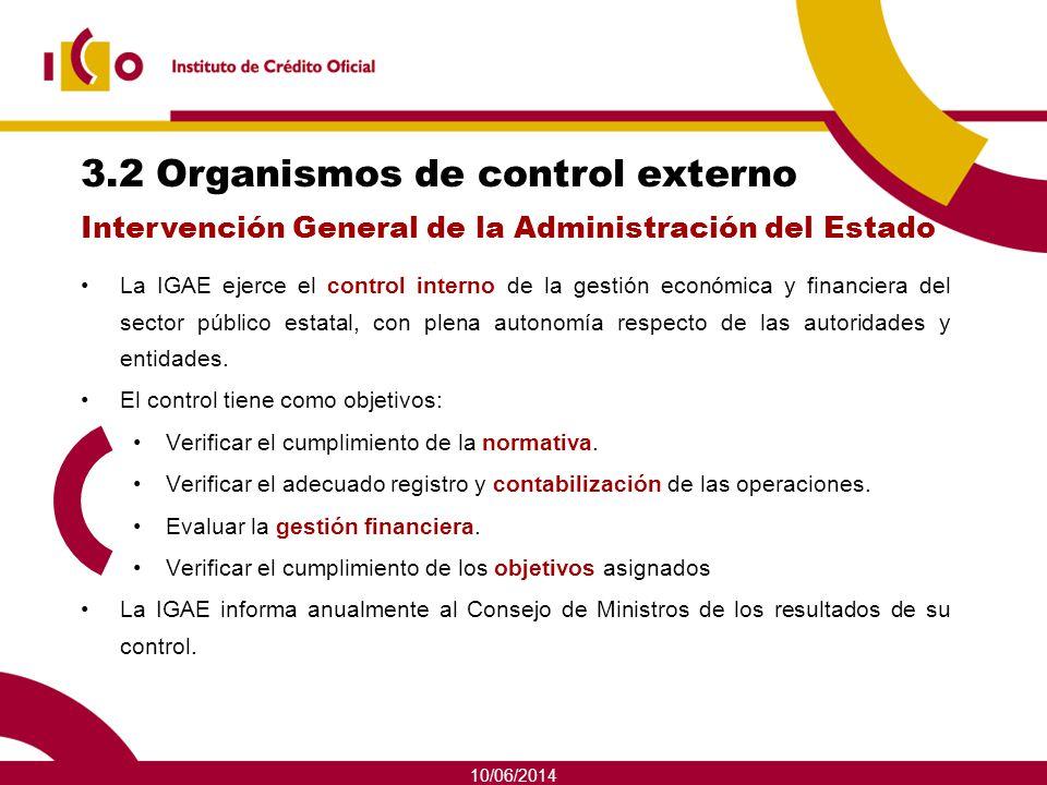 10/06/2014 3.2 Organismos de control externo La IGAE ejerce el control interno de la gestión económica y financiera del sector público estatal, con pl
