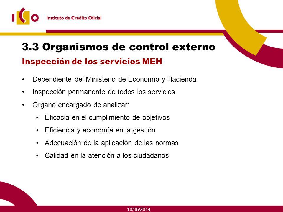 10/06/2014 3.3 Organismos de control externo Dependiente del Ministerio de Economía y Hacienda Inspección permanente de todos los servicios Órgano enc