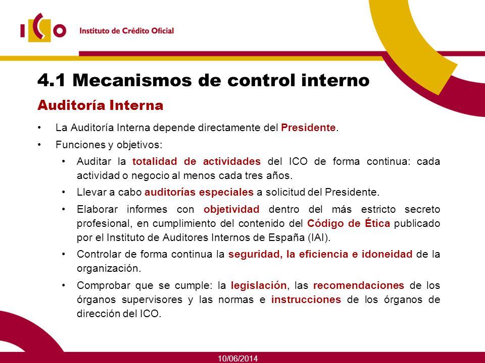 10/06/2014 4.1 Mecanismos de control interno La Auditoría Interna depende directamente del Presidente. Funciones y objetivos: Auditar la totalidad de