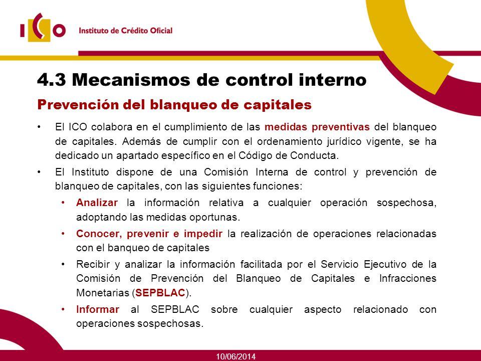 10/06/2014 4.3 Mecanismos de control interno El ICO colabora en el cumplimiento de las medidas preventivas del blanqueo de capitales. Además de cumpli
