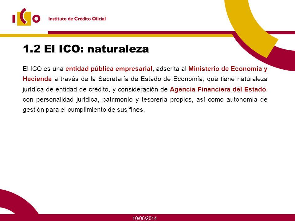 10/06/2014 1.2 El ICO: naturaleza El ICO es una entidad pública empresarial, adscrita al Ministerio de Economía y Hacienda a través de la Secretaría d