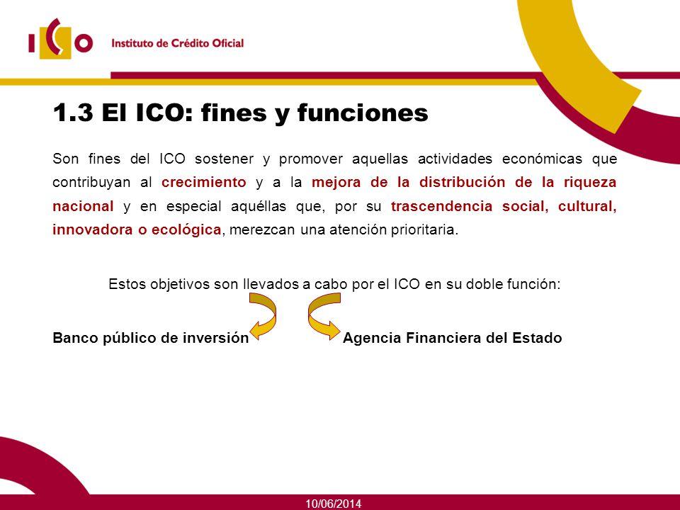 10/06/2014 1.3 El ICO: fines y funciones Son fines del ICO sostener y promover aquellas actividades económicas que contribuyan al crecimiento y a la m
