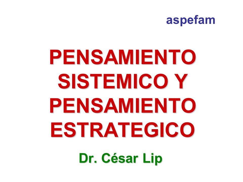 PENSAMIENTO SISTEMICO Y PENSAMIENTO ESTRATEGICO Dr. César Lip aspefam