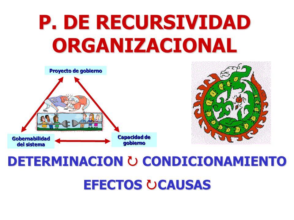 P. DE RECURSIVIDAD ORGANIZACIONAL Proyecto de gobierno Capacidad de gobierno Gobernabilidad del sistema DETERMINACION CONDICIONAMIENTO EFECTOS CAUSAS
