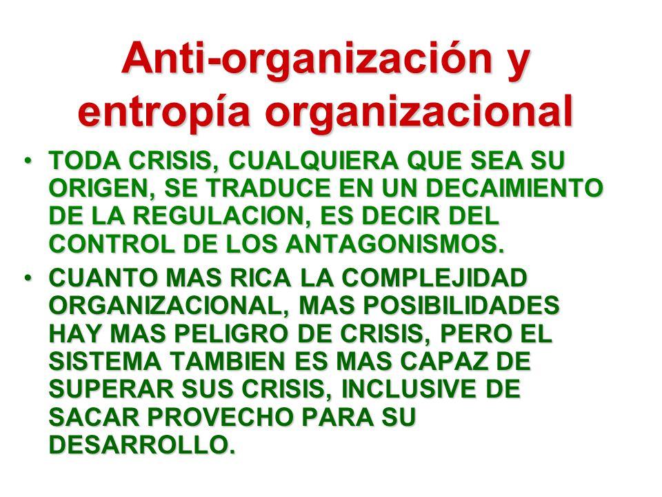 Anti-organización y entropía organizacional TODA CRISIS, CUALQUIERA QUE SEA SU ORIGEN, SE TRADUCE EN UN DECAIMIENTO DE LA REGULACION, ES DECIR DEL CONTROL DE LOS ANTAGONISMOS.TODA CRISIS, CUALQUIERA QUE SEA SU ORIGEN, SE TRADUCE EN UN DECAIMIENTO DE LA REGULACION, ES DECIR DEL CONTROL DE LOS ANTAGONISMOS.