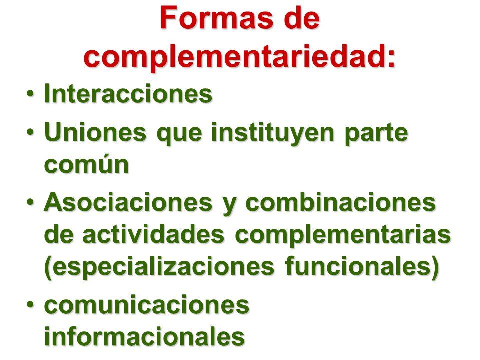 Formas de complementariedad: InteraccionesInteracciones Uniones que instituyen parte comúnUniones que instituyen parte común Asociaciones y combinaciones de actividades complementarias (especializaciones funcionales)Asociaciones y combinaciones de actividades complementarias (especializaciones funcionales) comunicaciones informacionalescomunicaciones informacionales