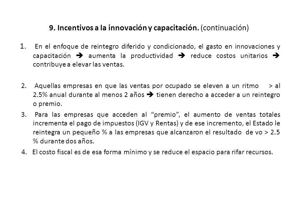 9. Incentivos a la innovación y capacitación. (continuación) 1. En el enfoque de reintegro diferido y condicionado, el gasto en innovaciones y capacit