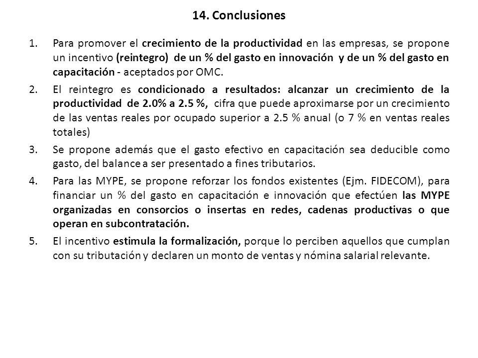 14. Conclusiones 1.Para promover el crecimiento de la productividad en las empresas, se propone un incentivo (reintegro) de un % del gasto en innovaci