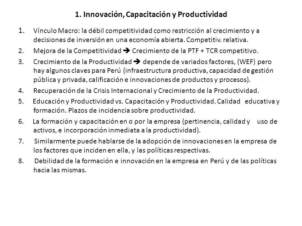 1. Innovación, Capacitación y Productividad 1. Vínculo Macro: la débil competitividad como restricción al crecimiento y a decisiones de inversión en u